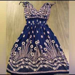 Dresses & Skirts - Navy & Tan Boho Paisley Dress Size Medium